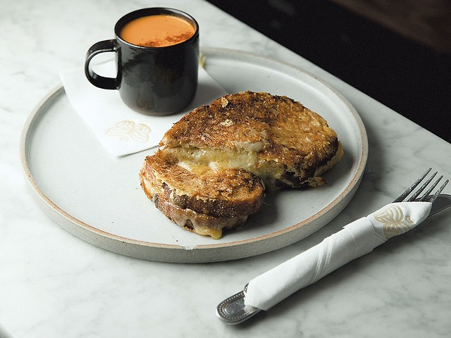 Spicy tomato soup and grilled cheese sandwich - BRENT HARREWYN