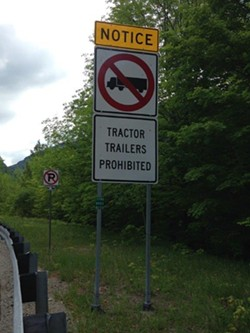 One of several signs heading into the Notch - COURTESY OF VERMONT DMV