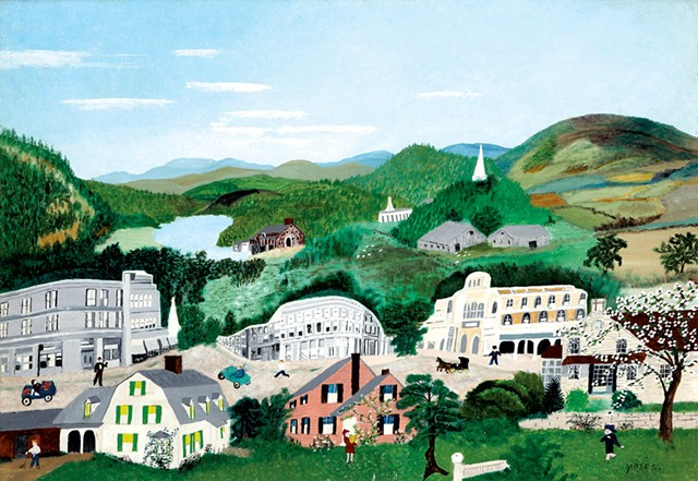 """Bennington, 1945"" by Anna Mary Robertson ""Grandma"" Moses - COURTESY OF SHELBURNE MUSEUM/BENNINGTON MUSEUM"