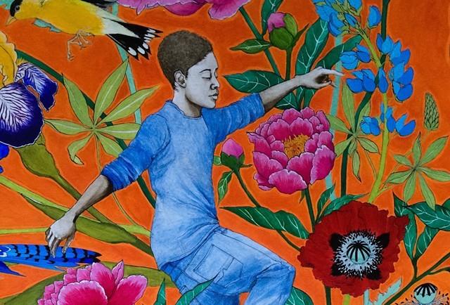 Detail of A-Dog mural for skatepark - COURTESY OF JOZIE FURCHGOTT SOURDIFFE