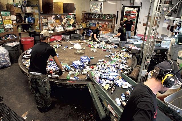 Sorting bottles and cans at Winooski Beverage Center - MATTHEW THORSEN