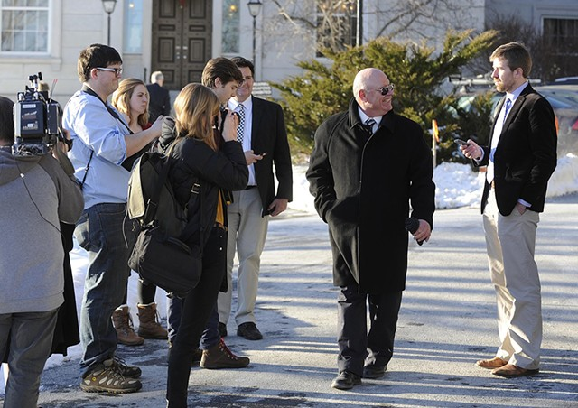 Suspended Sen. Norm McAllister smiles at Seven Days political columnist Paul Heintz in January 2016 at the Vermont Statehouse - FILE: JEB WALLACE-BRODEUR