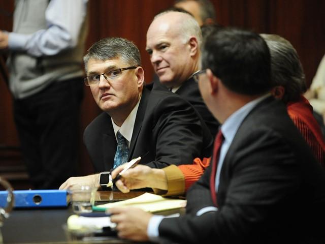 From left, Rep. Don Turner, Sen. Joe Benning and their attorney, Rep. Janssen Willhoit. - STEFEN HARD