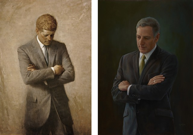 """Left: """"Oil Portrait of John F. Kennedy"""" by Aaron Shikler; right:  Peter Shumlin by August Burns, photographed by Martin Lavalee"""