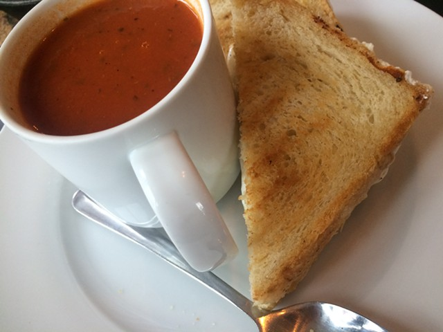 Tomato soup and toasted cheese sandwich at One Radish - SUZANNE PODHAIZER