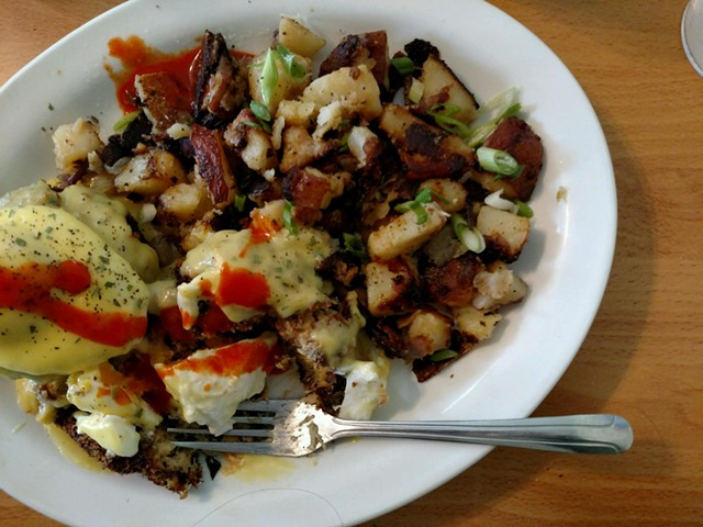 Crab cake Benedict, splashed with Cholula - HANNAH PALMER EGAN