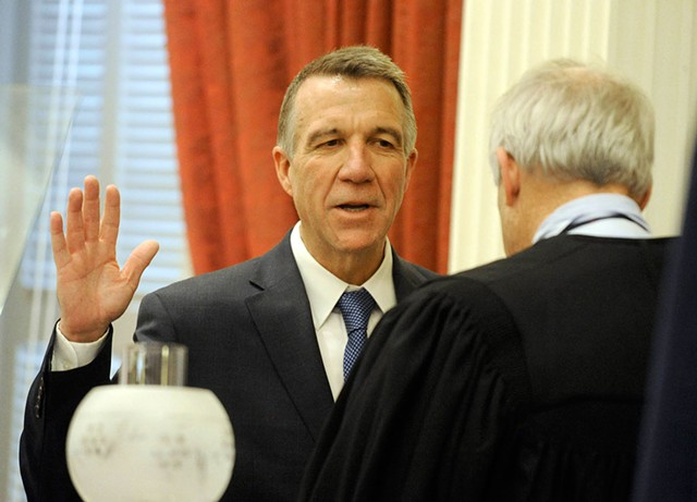 Gov. Phil Scott swears the oath of office - JEB WALLACE-BRODEUR