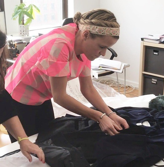 Kate Bowen makes final touches on inauguration week outfit for Ivanka Trump's daughter. - COURTESY