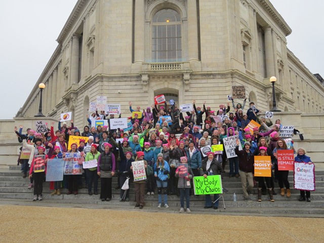Vermonters gathered on the steps of the Cannon House Office Building on Capitol Hill prior to the rally and march. - COURTESY OF BOB PIERNO