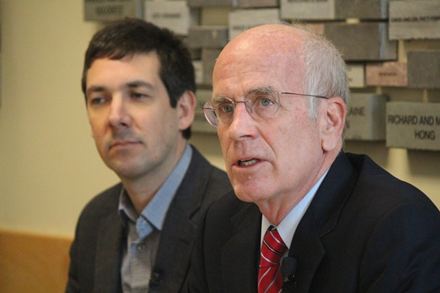 ACLU of Vermont executive director James Lyall and Congressman Peter Welch on Monday in Burlington - PAUL HEINTZ