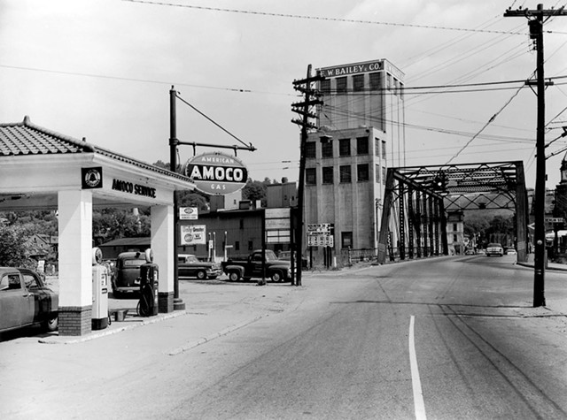 1950s photo of the Amoco station - COURTESY OF THE VERMONT HISTORICAL SOCIETY