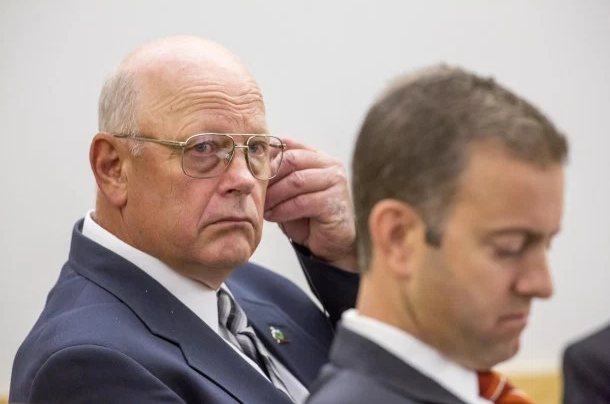 Norm McAllister (left) listening in court with attorney Brooks McArthur during his first trial, in June - FILE: POOL PHOTO/GREGORY J. LAMOUREUX/COUNTY COURIER