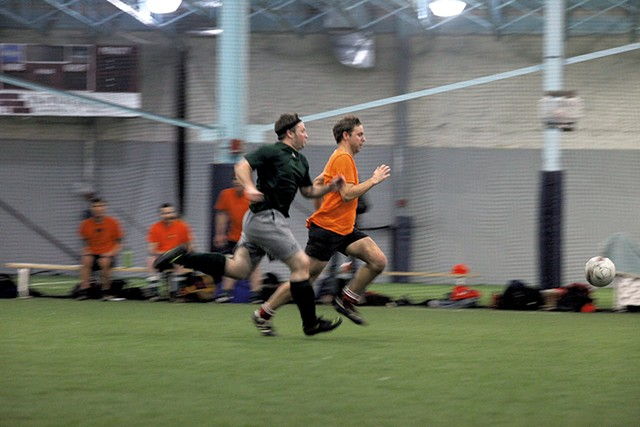 Tim Ashe (front) playing soccer last Thursday in Shelburne - MATTHEW THORSEN
