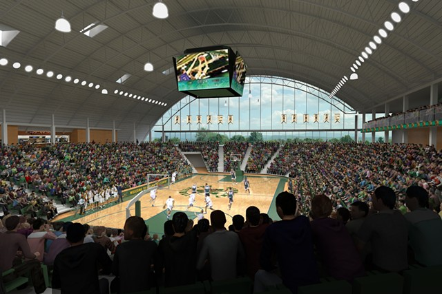 Renderings of the proposed event center - COURTESY OF UVM