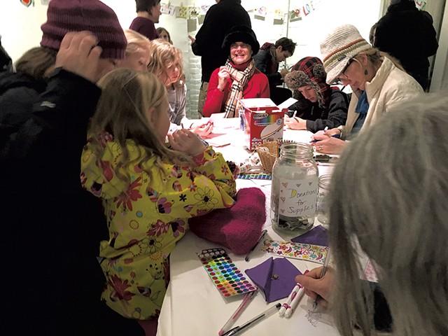 Postcard-making session at Catherine Dianich Gallery - ANN BEDICHEK BRADEN
