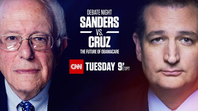 Advertisement for Sen. Bernie Sanders' and Sen. Ted Cruz's CNN debate - COURTESY: CNN