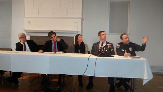 (left to right) Harry Chen, Miro Weinberger, Sarah George, Stephen Leffler, Brandon del Pozo - KATIE JICKLING