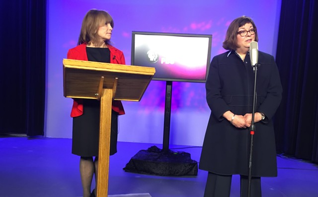 Vermont PBS board chair Patricia Gabel, left, and station president Holly Groschner - MARK DAVIS