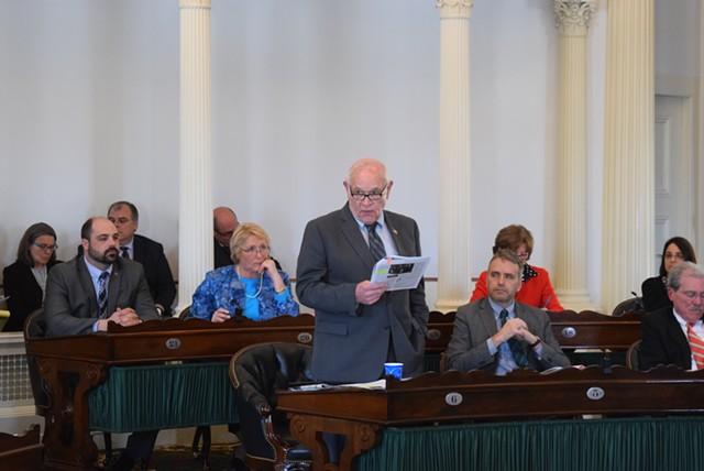 Sen. Dick Sears (D-Bennington) on the Senate floor Thursday - TERRI HALLENBECK
