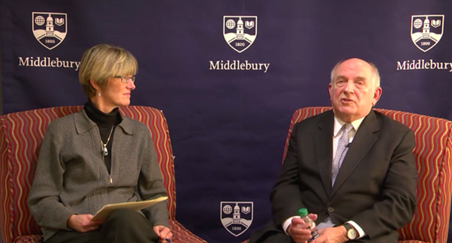 Professor Allison Stanger with Charles Murray on the live-stream