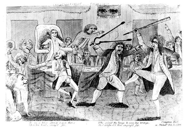 Contemporary cartoon of congressman Matthew Lyon (left) fighting congressman Roger Griswold