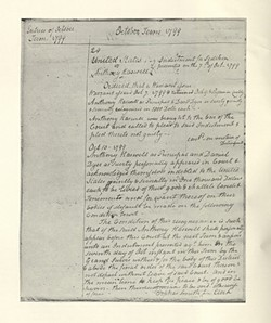 Bail bond issued after Anthony Haswell's October 1799 arrest. - COURTESY OF UNIVERSITY OF VERMONT SPECIAL COLLECTIONS