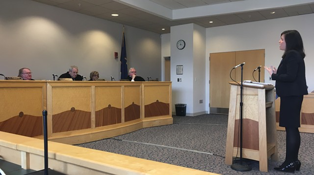 Deputy Chittenden County State's Attorney Aimee Griffin argues before the Vermont Supreme Court.