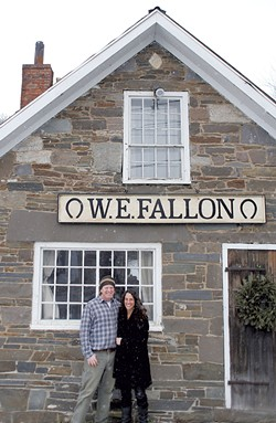 Mark Meyerrose  and Stacy Hopkins at the blacksmith shop - SARAH PRIESTAP