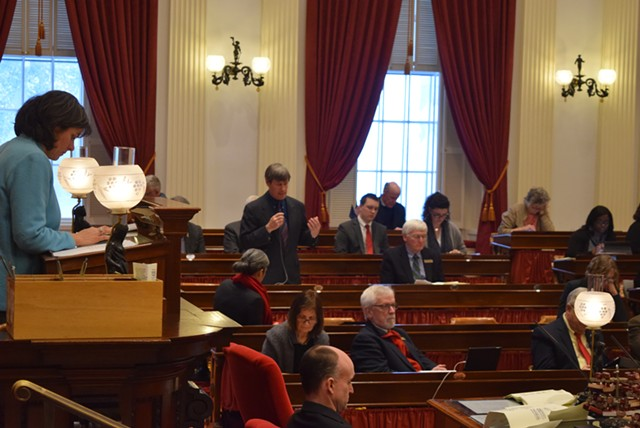 Rep. Chip Conquest (D-Newbury) defends a bill that would bar Vermont authorities from knowingly contributing to a federal religious registry. - TERRI HALLENBECK