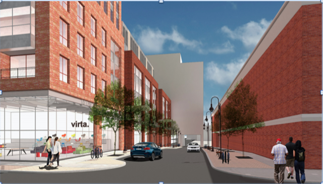 Rendering of the Burlington Town Center from Pine St. - PROVIDED COURTESY OF PKSB ARCHITECTS