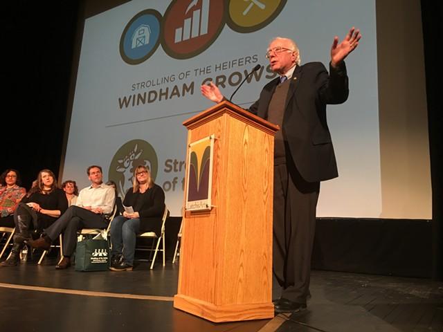 Sanders speaking at the Latchis Theatre in Brattleboro - JOHN WALTERS