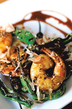 Fresh shrimp with shishito peppers - JEB WALLACE-BRODEUR