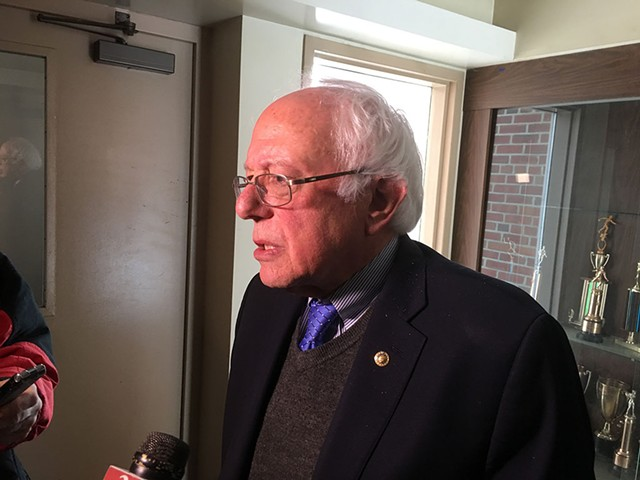 Bernie Sanders speaking to reporters in St. Johnsbury on March 16 - JOHN WALTERS