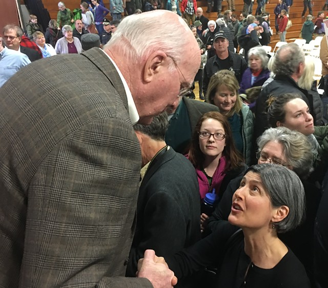 Sen. Patrick Leahy chats with a constituent on Saturday in Hardwick. - JOHN WALTERS