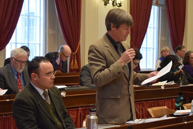Rep. Chip Conquest (D-Newbury) details a marijuana legalization bill before it was sent to committee Tuesday. - TERRI HALLENBECK