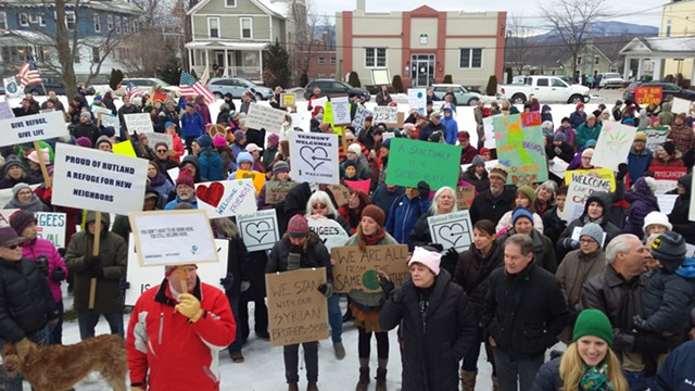 A rally supporting refugee resettlement in Rutland on January 28 - KYMELYA SARI