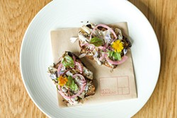 Pickled smelt, quark and aquavit on Red Hen sprouternickel - OLIVER PARINI