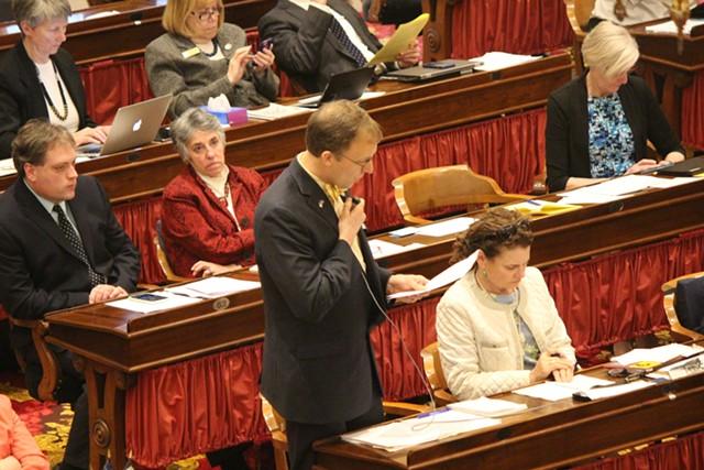Rep. Martin LaLonde (D-South Burlington) discusses the shield bill Wednesday on the House floor. - PAUL HEINTZ