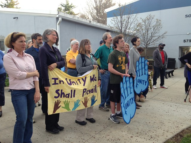 People at Wednesday's vigil in South Burlington - MOLLY WALSH