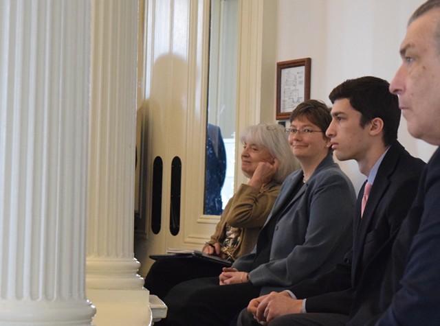 Robin Lunge smiles in the state Senate chamber Thursday. - TERRI HALLENBECK