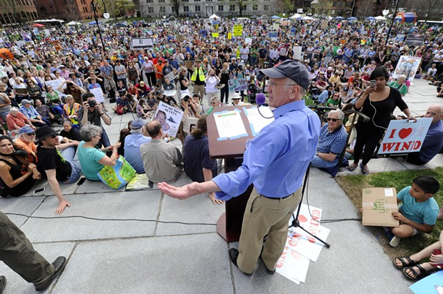 Congressman Peter Welch (D-Vt.) speaking to the crowd at the climate rally - JEB WALLACE-BRODEUR