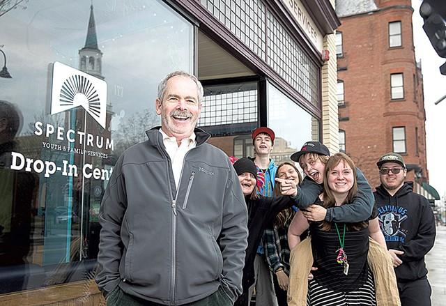 Mark Redmond with Spectrum staff and clients - JAMES BUCK