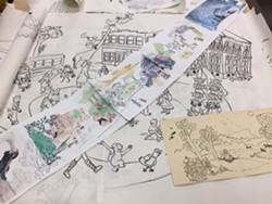 Some of Richland's sketches for the mural, displayed at the May 4 reception - MARGOT HARRISON