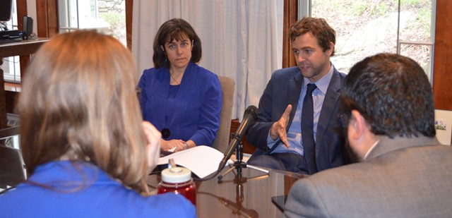 Rep. Mitzi Johnson (D-South Hero) and Sen. Tim Ashe (D/P-Chittenden) earlier this week - ALICIA FREESE