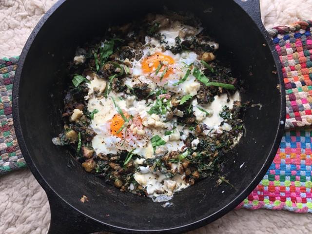 Potatoes, dandelions, ramps, eggs, mascarpone - HANNAH PALMER EGAN