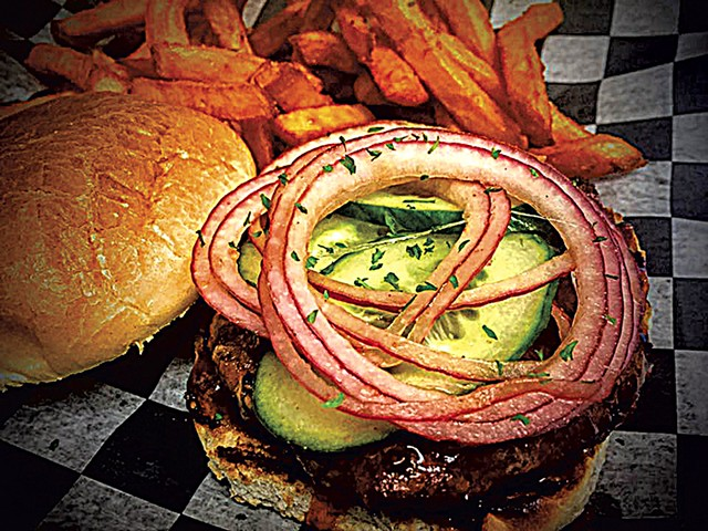 Burger at Langdon Street Tavern