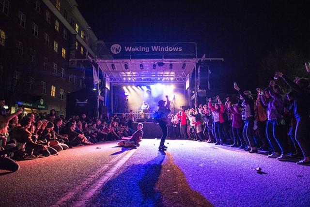 Dan Deacon dance-off at the Main Stage - COURTESY OF BRITT SHORTER/WAKING WINDOWS
