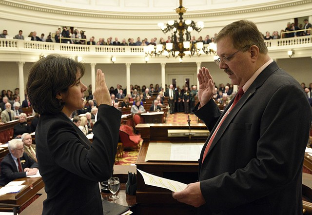 House Speaker Mitzi Johnson taking her oath of office in January with Secretary of State Jim Condos - FILE: JEB WALLACE-BRODEUR