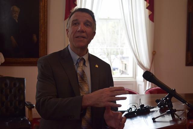 Gov. Phil Scott responds to questions about marijuana Wednesday. - TERRI HALLENBECK