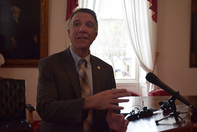 Gov. Phil Scott responds to questions about marijuana Wednesday. - TERRI HALLENBECK